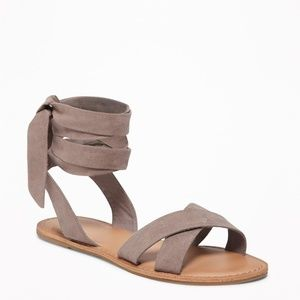 Old Navy - Taupe  Ankle Tie Sandals